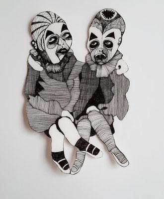 Gaukler (die Mädchen) ca. 27 cm Fineliner auf Papier