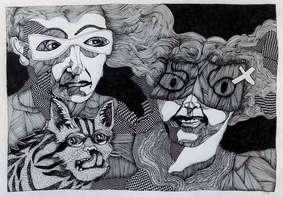 Wir sind jetzt müde (1) 42 x 59,4 cm Tuschestift auf Papier
