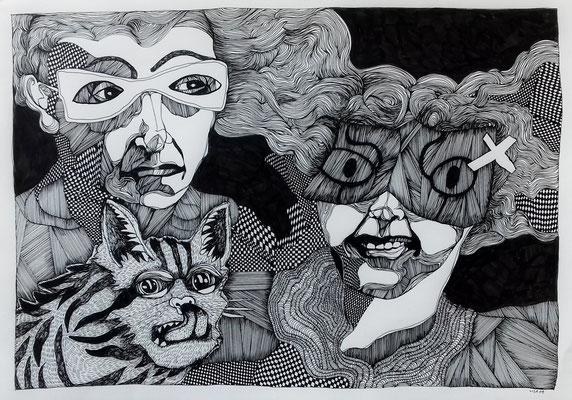 Wir sind jetzt müde (1) 42 x 59,4 cm Fineliner auf Papier