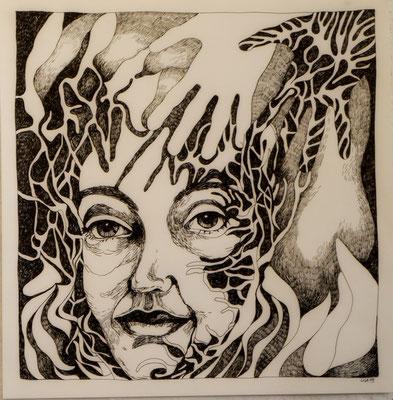 Angst und Hoffnung 42 x 42 cm Tuschestift auf Papier