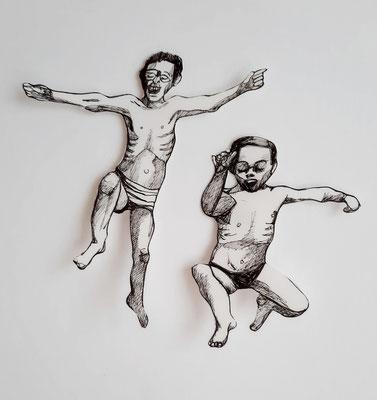 Spielen und Springen(2) ca. 12 und 14 cm Fineliner auf Papier