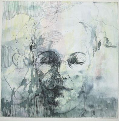 Nach Innen  60 x 60 cm  Acryl/Tusche auf Leinwand