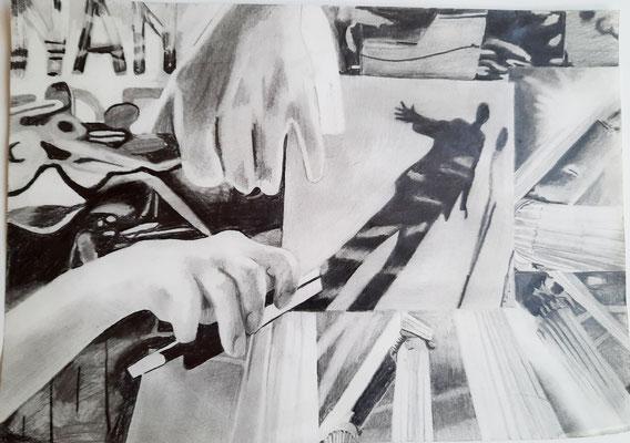string music 21 x 29,7 cm Bleistift auf Papier
