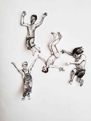 Spielen und Springen (4) je ca. 14 cm Fineliner auf Papier