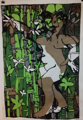 Tanz im Bambuswald  70 x 100 cm  Marker/Acryl auf Papier