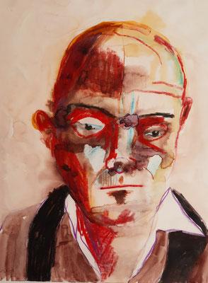 Roter Mann 24 x 32 cm Tusche / Wachskreide