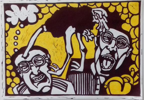 Alle haben Spaß (2) 29,7 x 42 cm Linoldruck/Farbstift