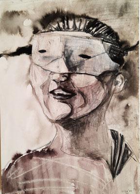 Maskenmädchen 21 x 29,7 cm Mischtechnik/Tusche/Wachs/Graphit