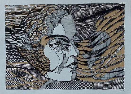 mittendrin sein ( 2 ) 30 x 40 cm Tuschestift /Papierschnitt
