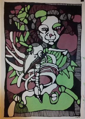 Osteothierchen 2    70 x 100 cm Marker/Acryl auf Papier