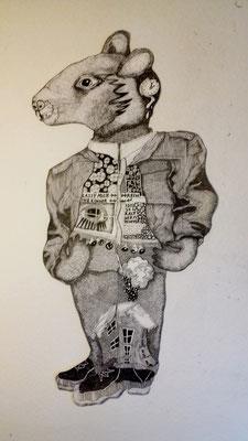 Herr Maus ca. 60 x 90 cm Tuschestift auf Papier
