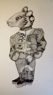 Herr Maus ca. 60 x 90 cm Fineliner auf Papier