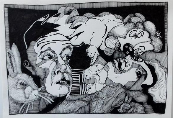 Wir sind jetzt müde (2) 42 x 59,4 cm Tuschestift auf Papier