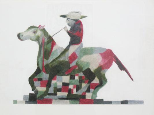 Cowboy mit Pferd  20 x 30 cm Farbstift auf Papier