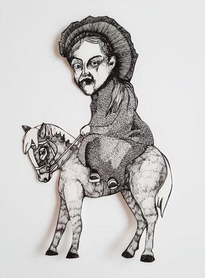 Reiter (3) ca. 16 x 25 cm Fineliner auf Papier