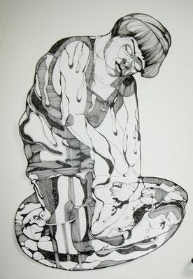 Die Froschfängerin ca 60 x 90 cm Tuschestift auf Papier