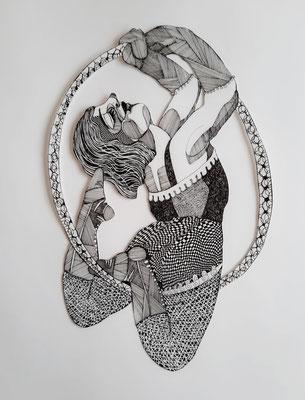 Gaukler (Frau mit Ring) ca. 35 x 53 cm Fineliner auf Papier