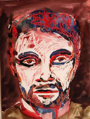 Portrait rot-blau-schwarz 25 x 32 cm Tusche / Wachskreide