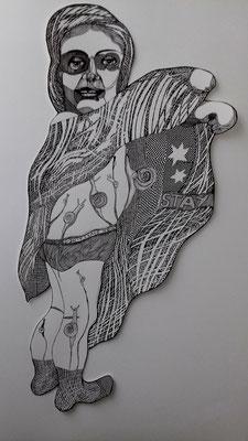 Schneckenmädchen ca. 80 x 50 cm Finelniner auf Papier