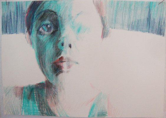 In der Küche  21 x 29,7 cm Farbstift auf Papier