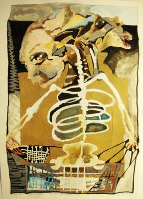 Karma Police  50 x 70 cm  Wasserfarben/Collage auf Papier