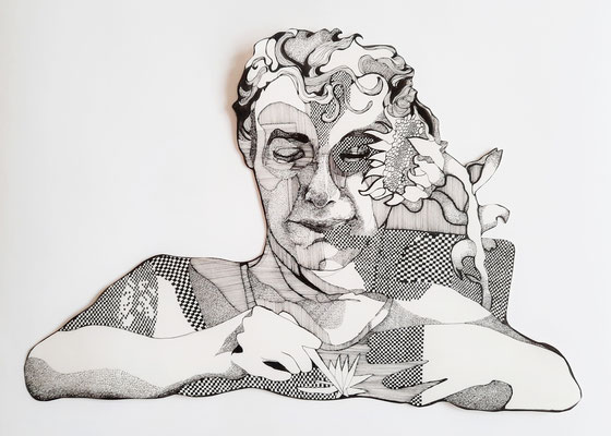 F. zeichnend  ca. 38 x 55 cm Fineliner auf Papier