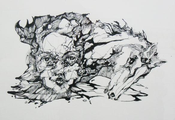 Im Flow 42 x 59,4 cm  Tusche auf Papier