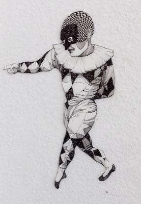 Gaukler (mit Maske) ca. 20 cm Fineliner auf Papier