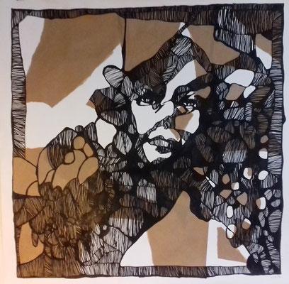 Gewachsenes 100 x 100 cm Marker/Collage auf Papier