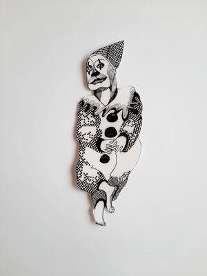 Gaukler (Clown) ca. 27 cm Fineliner auf Papier