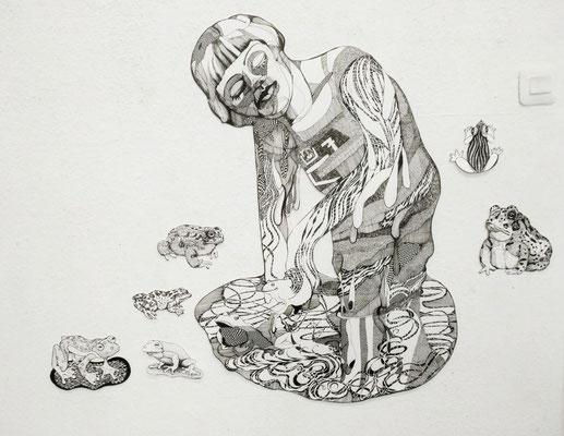 Ausstellungsansicht mit Fröschen und Kröten