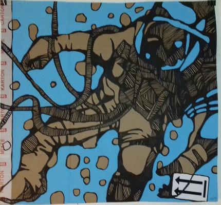 Astronautchen  70 x 70 cm Marker/Acryl auf Pappe