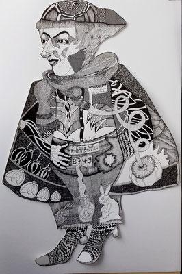 Zorc Zalotti ca. 60 x90 cm Fineliner auf Papier