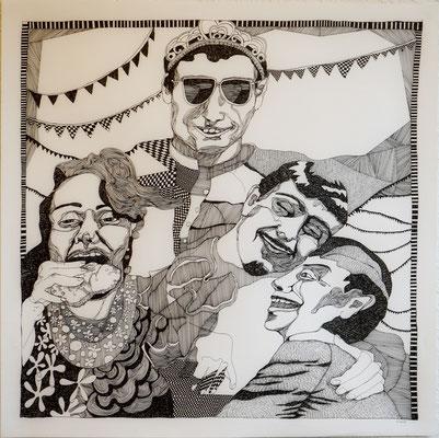 Party 70 x 70 cm Fineliner auf Papier