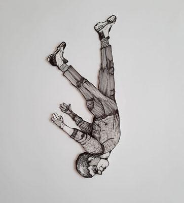 Fallender (4) ca. 34 cm Fineliner auf Papier