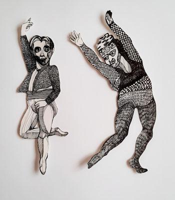 Tanzende (Paar 2) je ca. 2 cm Fineliner auf Papier