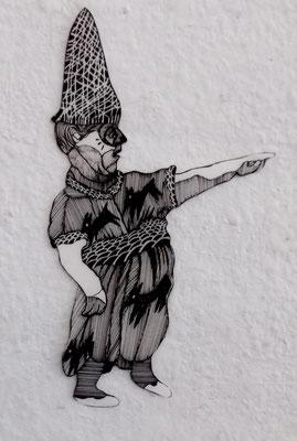 Gaukler (spottender Clown)  ca. 20 cm Fineliner auf Papier