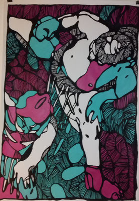 Die Sumos  70 x 100 cm Marker/Acryl auf Papier