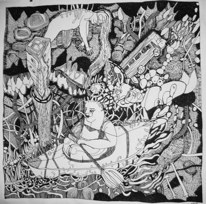 Traumlandschaft  150 x 150 cm  Marker auf Papier