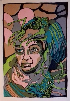 Käferfrau 70 x 100 cm Acryl und Marker auf Papier