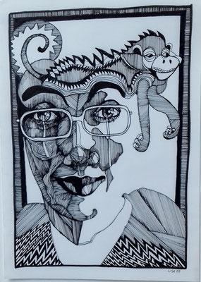 Schabernack 21 x29,7 cm Tuschestift auf Papier