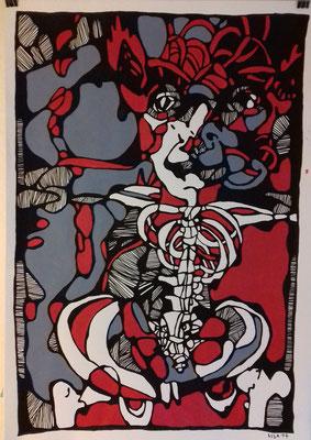 Osteothierchen 1    70 x 100 cm Marker/Acryl auf Papier