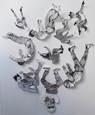 Fallende Leute, verschiedene Größen, Tuschestift auf Papier