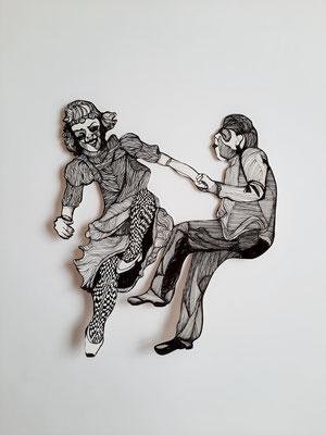 Tanzende (Swingpaar) ca. 27 x 30 cm Fineliner auf Papier
