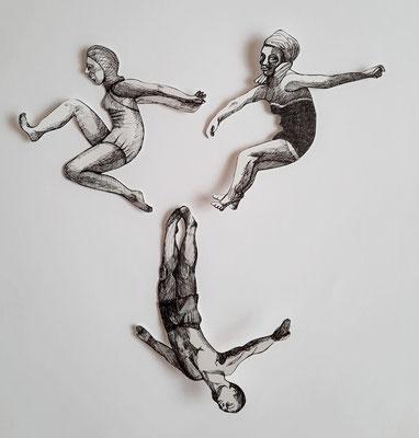 Spielen und Springen (6)  je ca. 14 cm Fineliner auf Papier