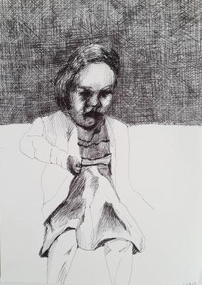 Mädchen 21 x 29,7 cm Kugelschreiber auf Papier