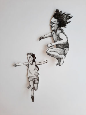 Spielen und Springen (3) je ca. 14 cm Fineliner auf Papier