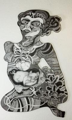 Blühende Frau ca. 60 x 90 cm Tuschestift auf Papier