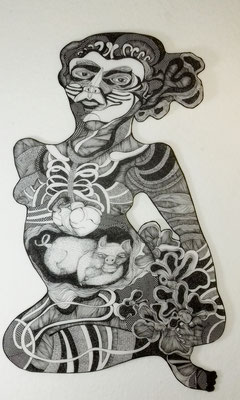 Blühende Frau ca. 60 x 90 cm Fineliner auf Papier