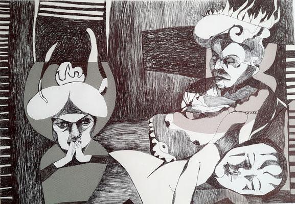 Schlafen und Wachen 42 x 59 cm Kugelschreiber/Collage auf Papier